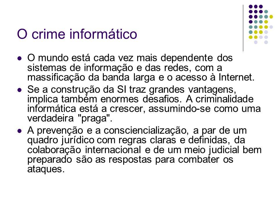 O crime informático O mundo está cada vez mais dependente dos sistemas de informação e das redes, com a massificação da banda larga e o acesso à Inter
