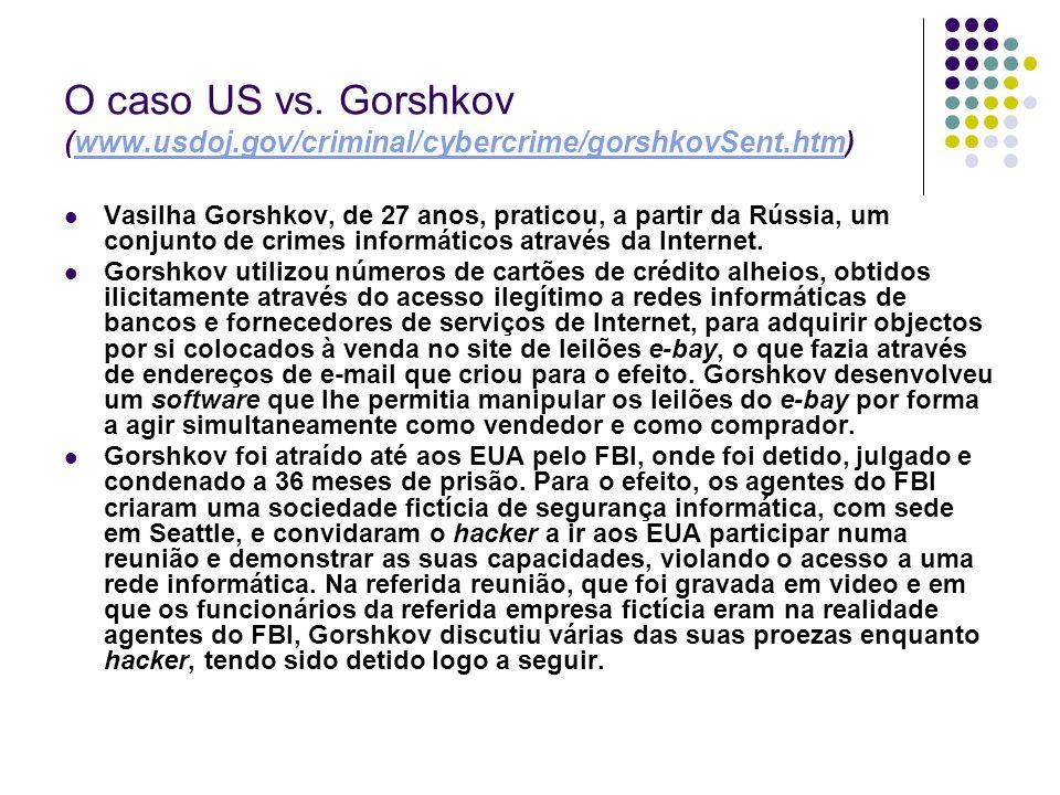 O caso US vs. Gorshkov (www.usdoj.gov/criminal/cybercrime/gorshkovSent.htm)www.usdoj.gov/criminal/cybercrime/gorshkovSent.htm Vasilha Gorshkov, de 27