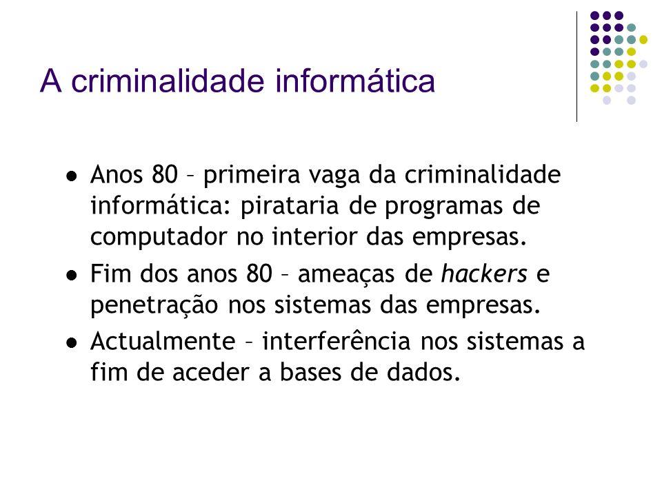 A criminalidade informática Anos 80 – primeira vaga da criminalidade informática: pirataria de programas de computador no interior das empresas. Fim d