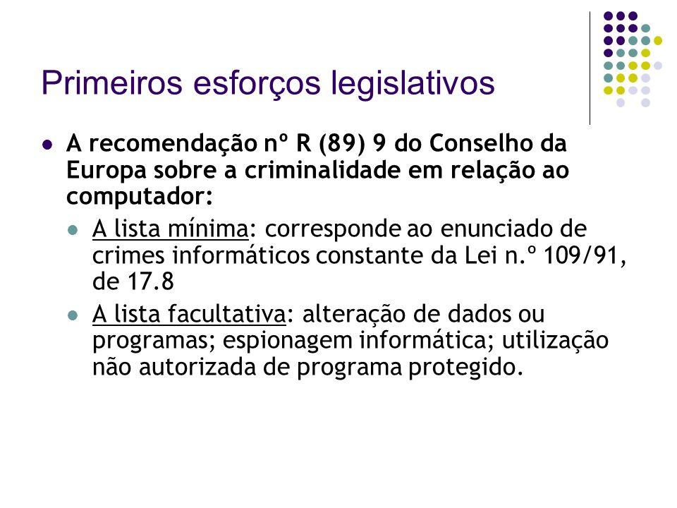 Primeiros esforços legislativos A recomendação nº R (89) 9 do Conselho da Europa sobre a criminalidade em relação ao computador: A lista mínima: corre