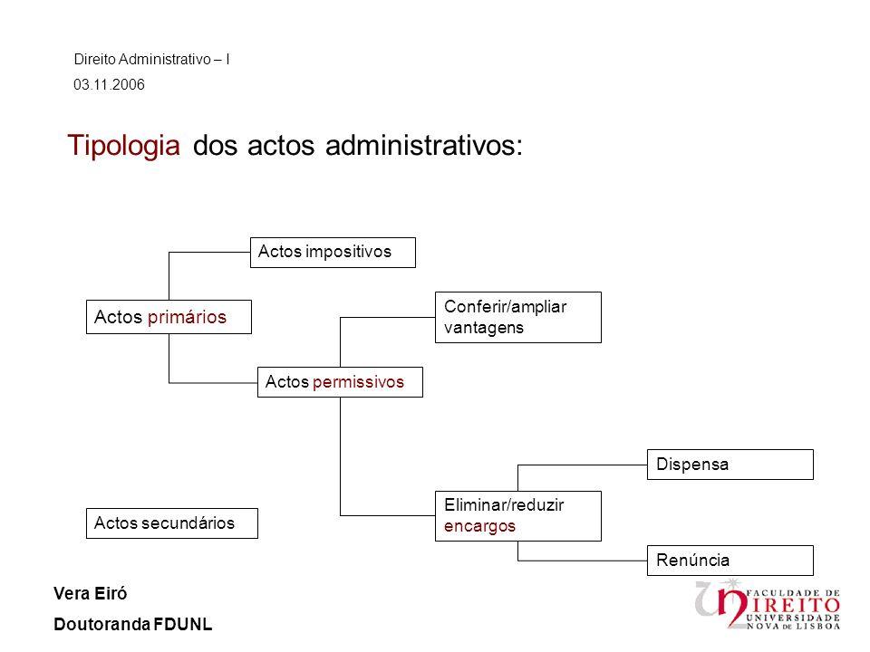 Tipologia dos actos administrativos: Direito Administrativo – I 03.11.2006 Vera Eiró Doutoranda FDUNL Actos primários Actos secundários Actos impositi