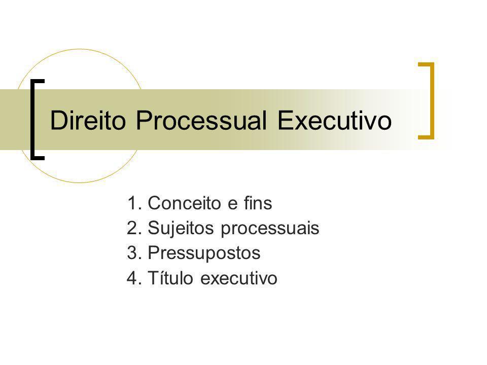 Direito Processual Executivo 1. Conceito e fins 2. Sujeitos processuais 3. Pressupostos 4. Título executivo