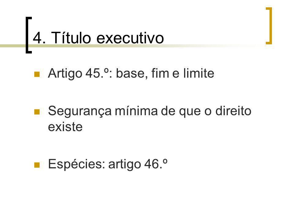 4. Título executivo Artigo 45.º: base, fim e limite Segurança mínima de que o direito existe Espécies: artigo 46.º