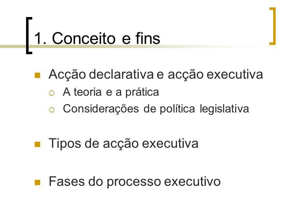 1. Conceito e fins Acção declarativa e acção executiva A teoria e a prática Considerações de política legislativa Tipos de acção executiva Fases do pr