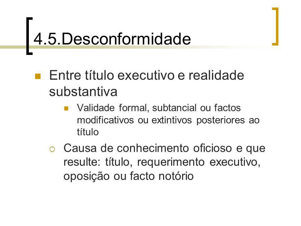 4.5.Desconformidade Entre título executivo e realidade substantiva Validade formal, subtancial ou factos modificativos ou extintivos posteriores ao tí