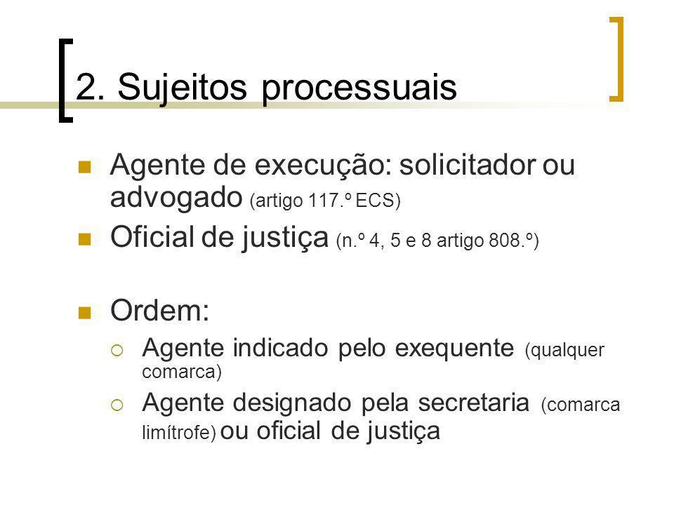 2. Sujeitos processuais Agente de execução: solicitador ou advogado (artigo 117.º ECS) Oficial de justiça (n.º 4, 5 e 8 artigo 808.º) Ordem: Agente in