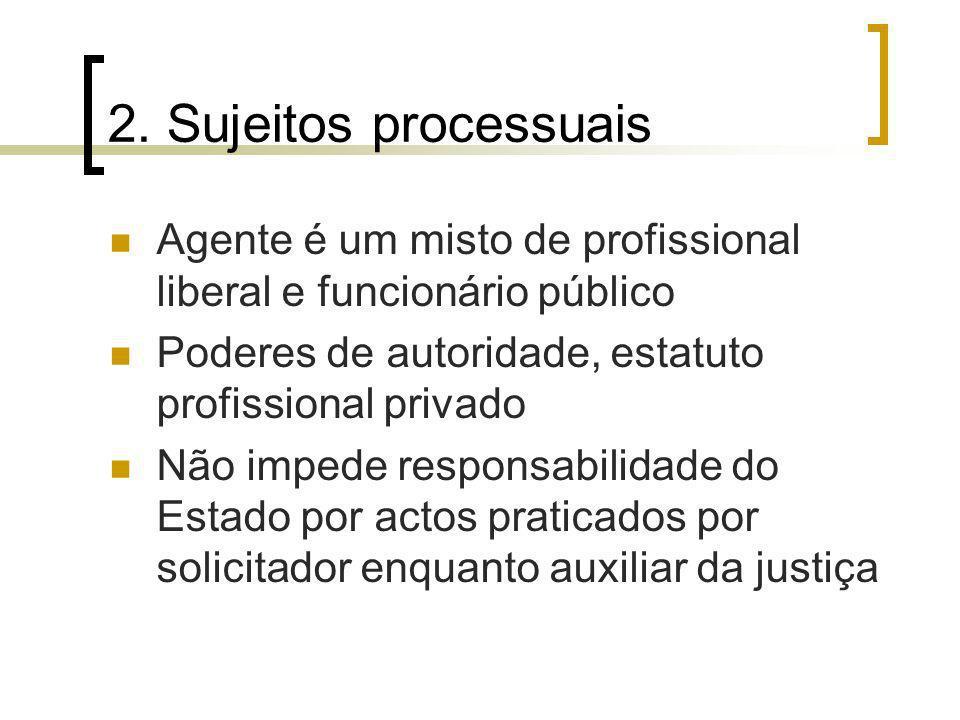 2. Sujeitos processuais Agente é um misto de profissional liberal e funcionário público Poderes de autoridade, estatuto profissional privado Não imped
