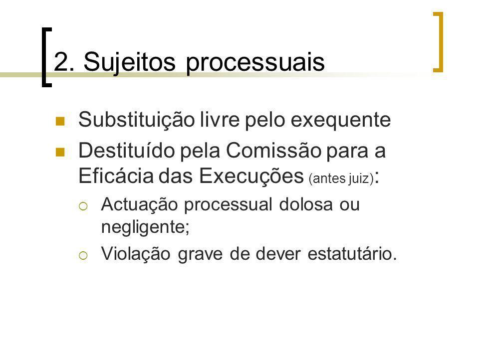 2. Sujeitos processuais Substituição livre pelo exequente Destituído pela Comissão para a Eficácia das Execuções (antes juiz) : Actuação processual do