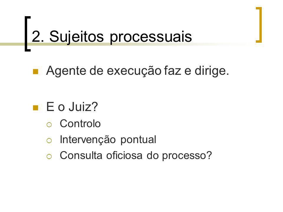 2. Sujeitos processuais Agente de execução faz e dirige. E o Juiz? Controlo Intervenção pontual Consulta oficiosa do processo?