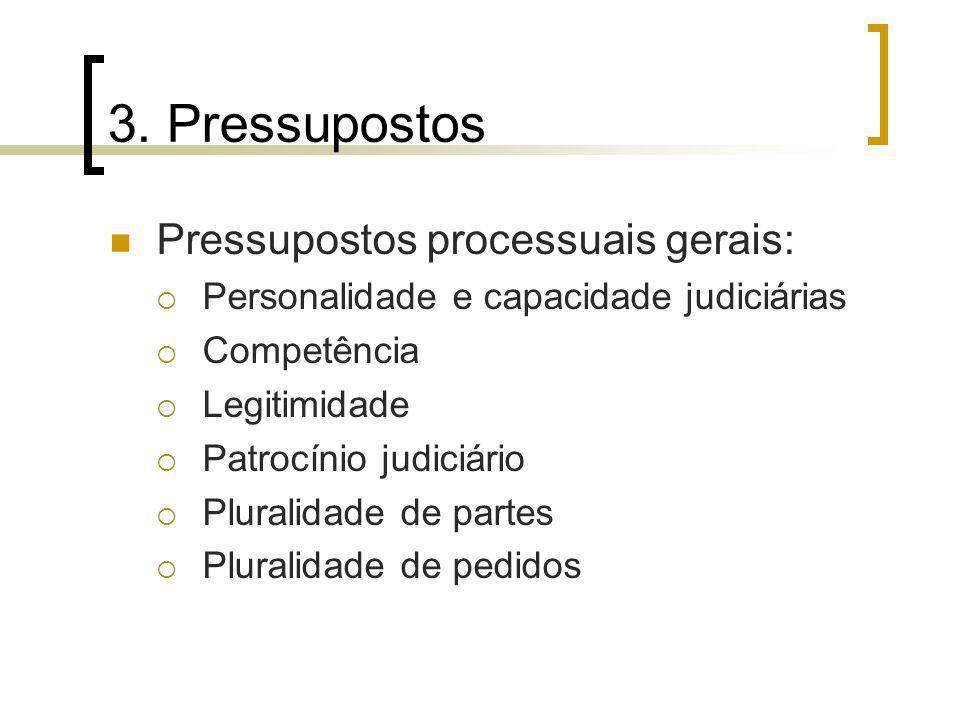 3. Pressupostos Pressupostos processuais gerais: Personalidade e capacidade judiciárias Competência Legitimidade Patrocínio judiciário Pluralidade de
