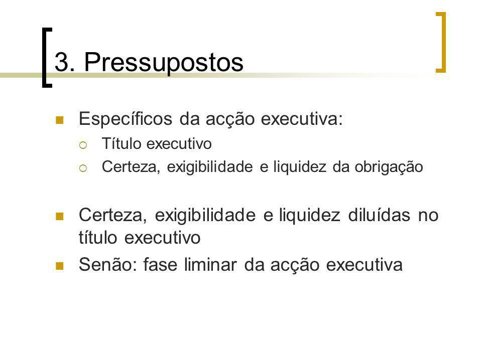 3. Pressupostos Específicos da acção executiva: Título executivo Certeza, exigibilidade e liquidez da obrigação Certeza, exigibilidade e liquidez dilu