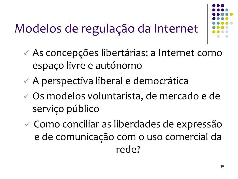 10 Modelos de regulação da Internet As concepções libertárias: a Internet como espaço livre e autónomo A perspectiva liberal e democrática Os modelos voluntarista, de mercado e de serviço público Como conciliar as liberdades de expressão e de comunicação com o uso comercial da rede