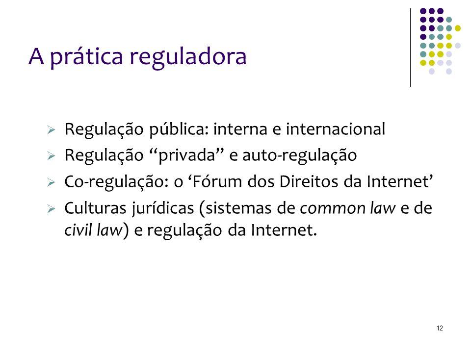 12 A prática reguladora Regulação pública: interna e internacional Regulação privada e auto-regulação Co-regulação: o Fórum dos Direitos da Internet Culturas jurídicas (sistemas de common law e de civil law) e regulação da Internet.