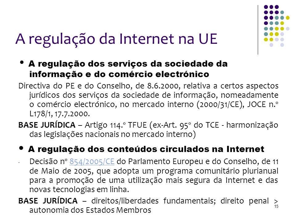 15 A regulação da Internet na UE A regulação dos serviços da sociedade da informação e do comércio electrónico Directiva do PE e do Conselho, de 8.6.2000, relativa a certos aspectos jurídicos dos serviços da sociedade de informação, nomeadamente o comércio electrónico, no mercado interno (2000/31/CE), JOCE n.º L178/1, 17.7.2000.