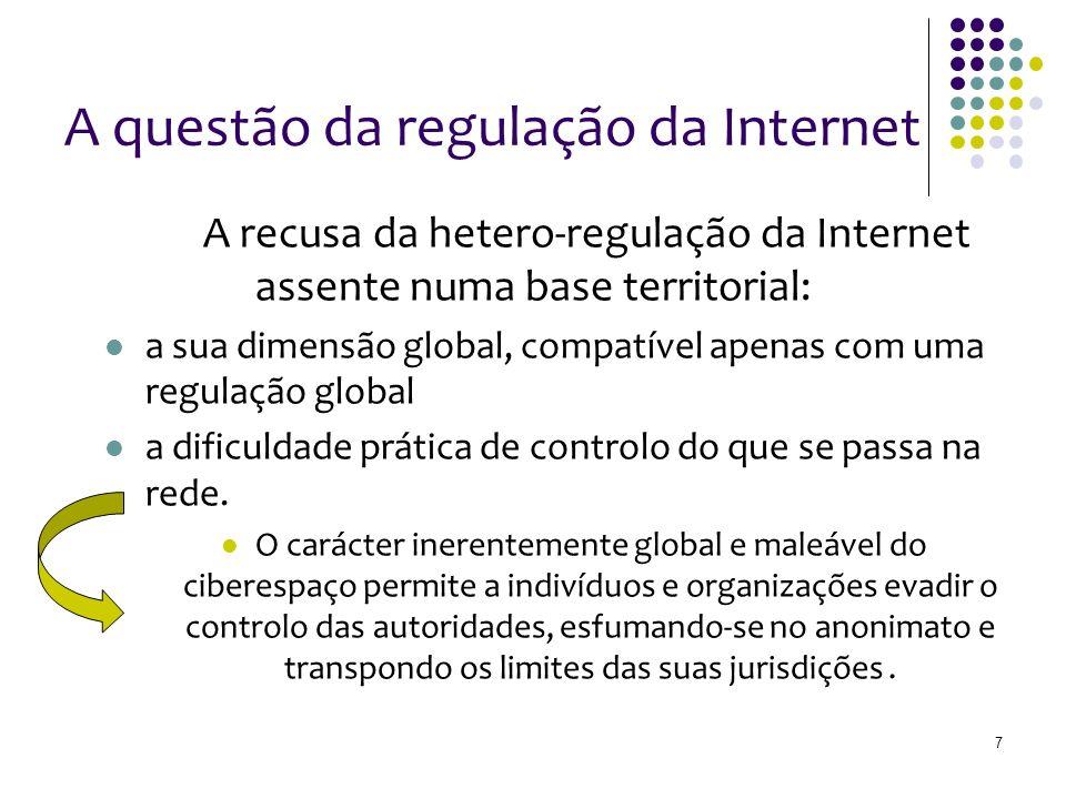 A questão da regulação da Internet A recusa da hetero-regulação da Internet assente numa base territorial: a sua dimensão global, compatível apenas com uma regulação global a dificuldade prática de controlo do que se passa na rede.