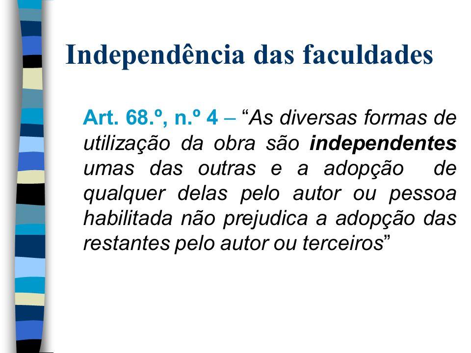 Independência das faculdades Art.
