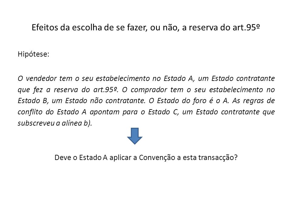 Efeitos da escolha de se fazer, ou não, a reserva do art.95º Hipótese: O vendedor tem o seu estabelecimento no Estado A, um Estado contratante que fez