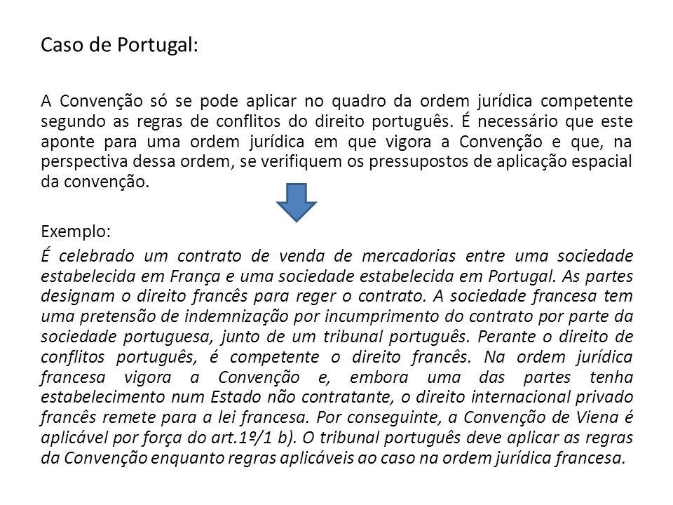 Caso de Portugal: A Convenção só se pode aplicar no quadro da ordem jurídica competente segundo as regras de conflitos do direito português. É necessá