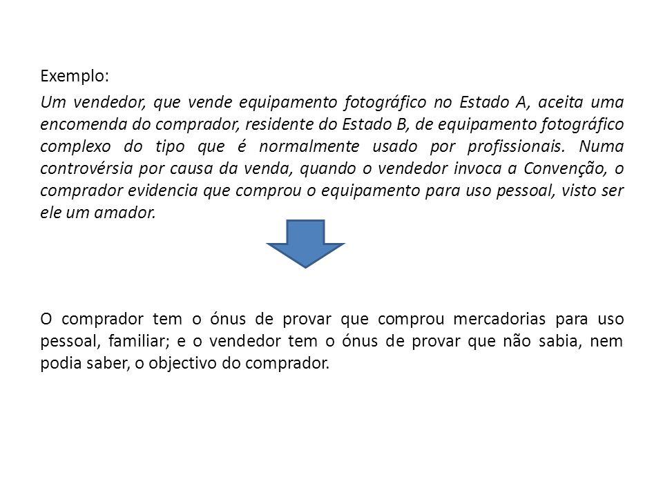 Exemplo: Um vendedor, que vende equipamento fotográfico no Estado A, aceita uma encomenda do comprador, residente do Estado B, de equipamento fotográf