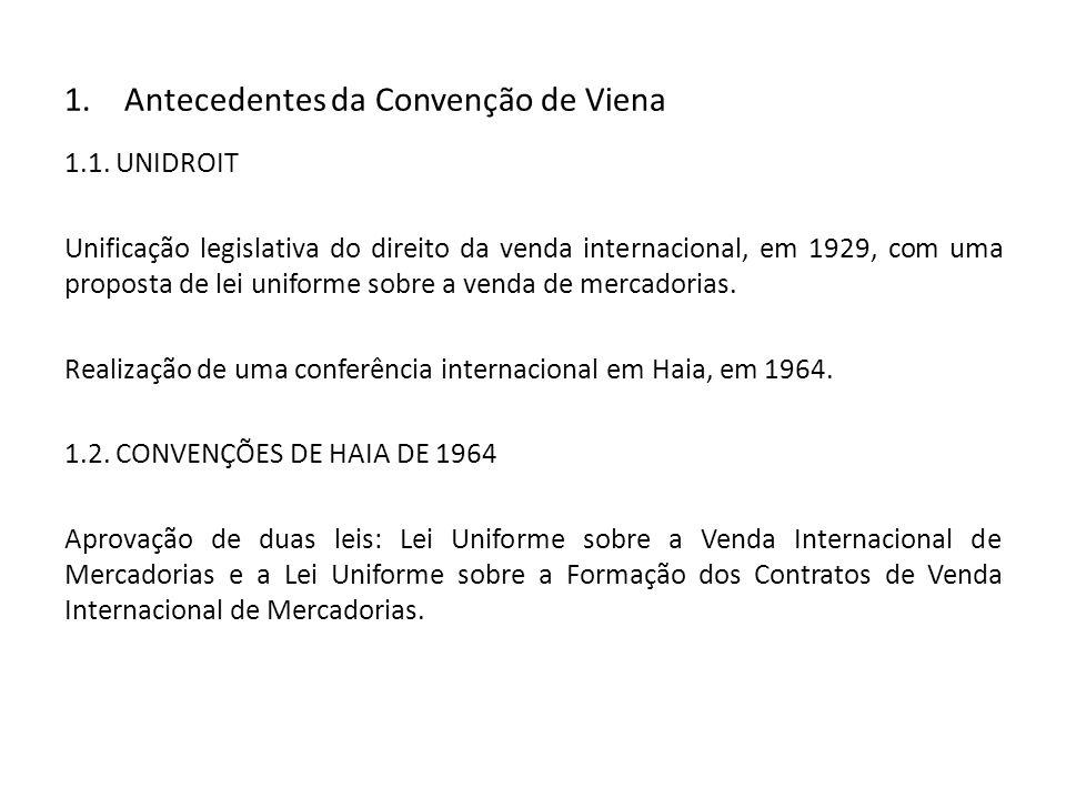 1.Antecedentes da Convenção de Viena 1.1. UNIDROIT Unificação legislativa do direito da venda internacional, em 1929, com uma proposta de lei uniforme