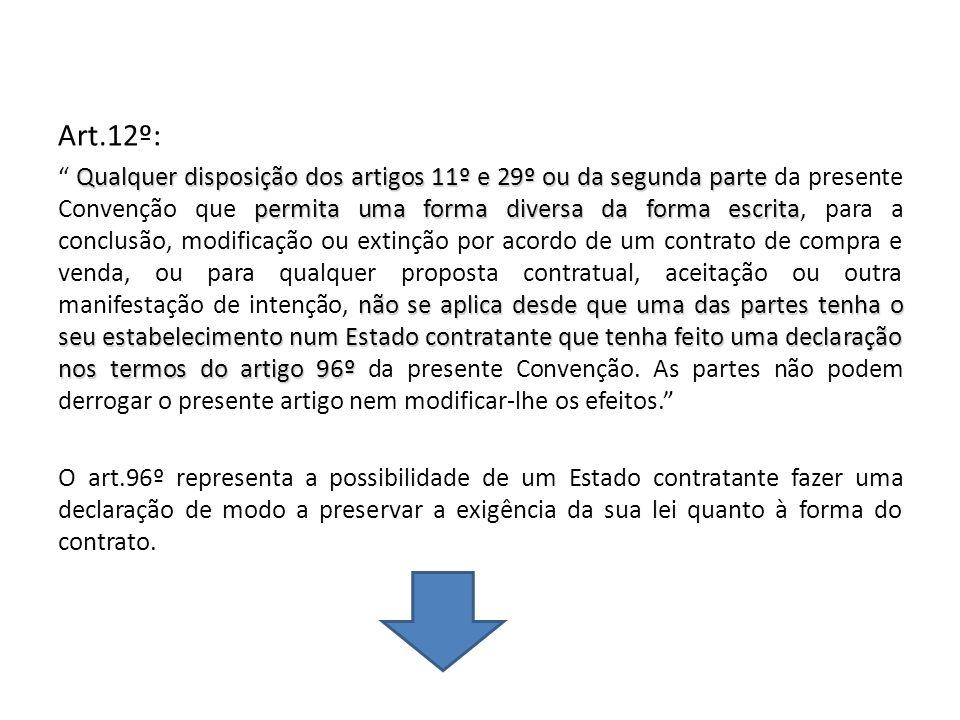 Art.12º: Qualquer disposição dos artigos 11º e 29º ou da segunda parte permita uma forma diversa da forma escrita não se aplica desde que uma das part