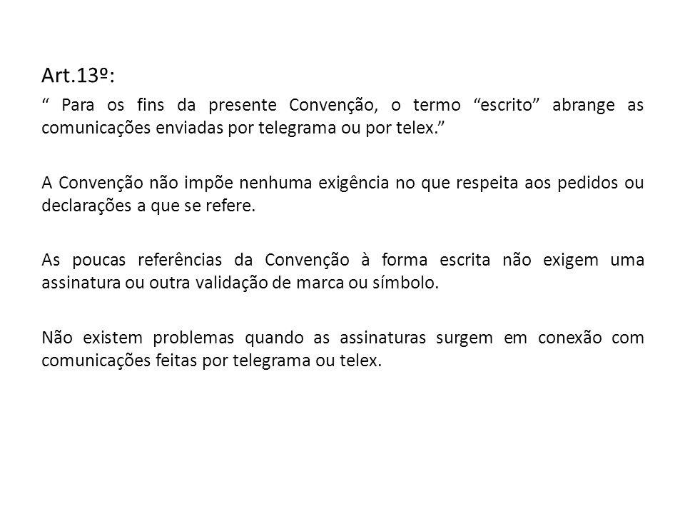 Art.13º: Para os fins da presente Convenção, o termo escrito abrange as comunicações enviadas por telegrama ou por telex. A Convenção não impõe nenhum