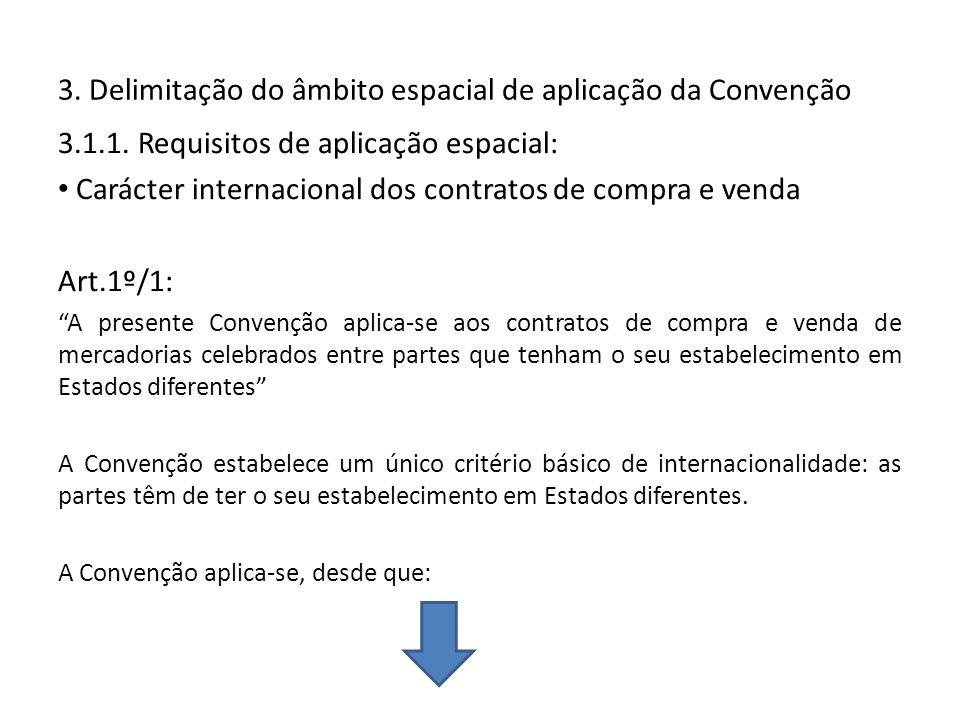 3. Delimitação do âmbito espacial de aplicação da Convenção 3.1.1. Requisitos de aplicação espacial: Carácter internacional dos contratos de compra e