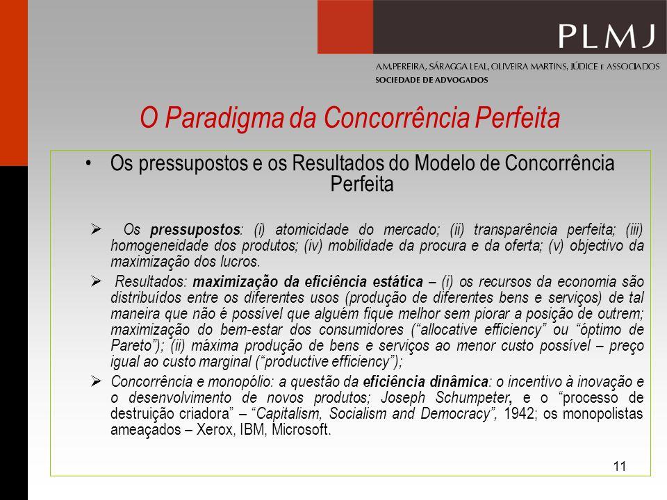 11 Os pressupostos e os Resultados do Modelo de Concorrência Perfeita Os pressupostos : (i) atomicidade do mercado; (ii) transparência perfeita; (iii)