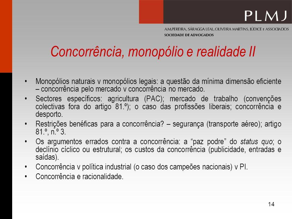 14 Concorrência, monopólio e realidade II Monopólios naturais v monopólios legais: a questão da mínima dimensão eficiente – concorrência pelo mercado