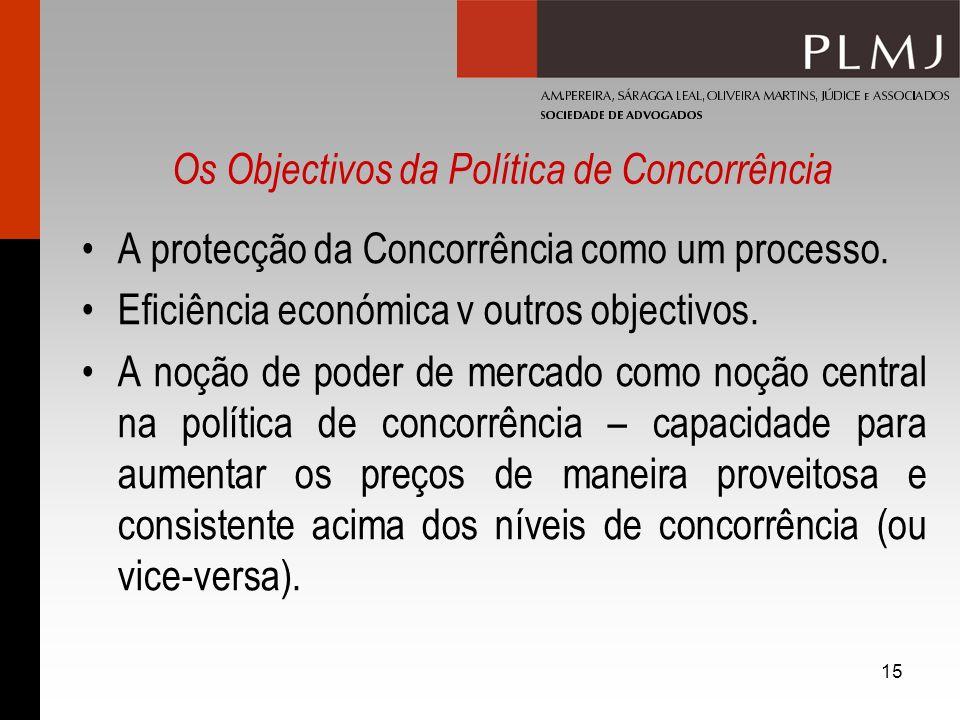 15 Os Objectivos da Política de Concorrência A protecção da Concorrência como um processo. Eficiência económica v outros objectivos. A noção de poder