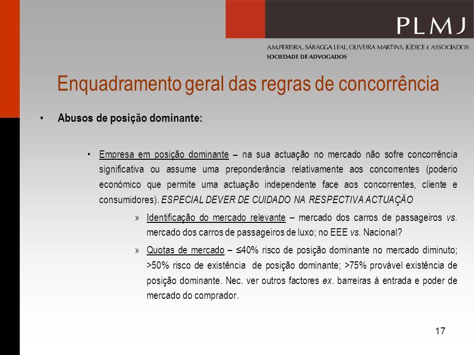 17 Enquadramento geral das regras de concorrência Abusos de posição dominante: Empresa em posição dominante – na sua actuação no mercado não sofre con