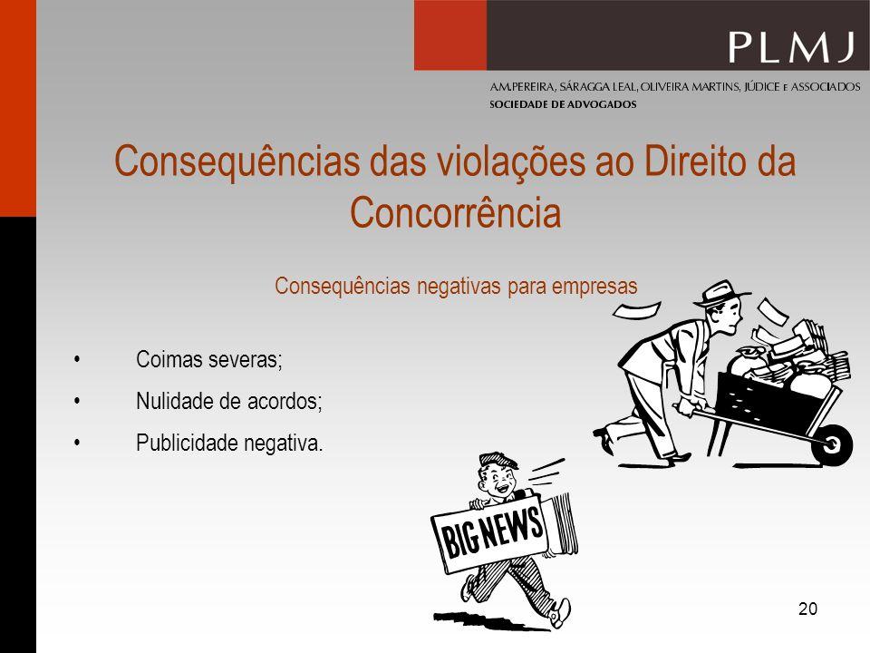20 Consequências das violações ao Direito da Concorrência Consequências negativas para empresas Coimas severas; Nulidade de acordos; Publicidade negat