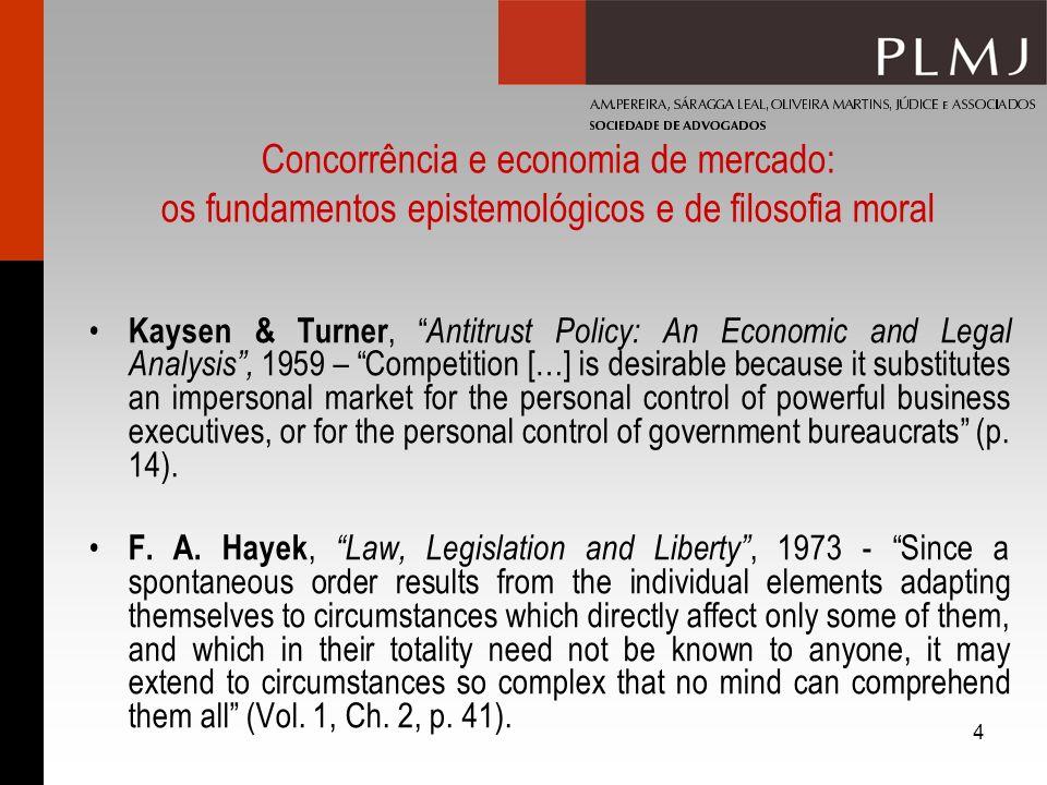 4 Concorrência e economia de mercado: os fundamentos epistemológicos e de filosofia moral Kaysen & Turner, Antitrust Policy: An Economic and Legal Ana