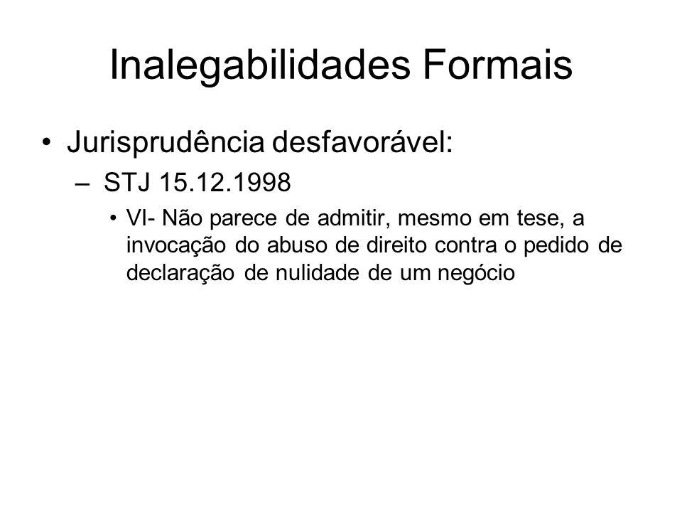 Inalegabilidades Formais Jurisprudência desfavorável: – STJ 15.12.1998 VI- Não parece de admitir, mesmo em tese, a invocação do abuso de direito contr