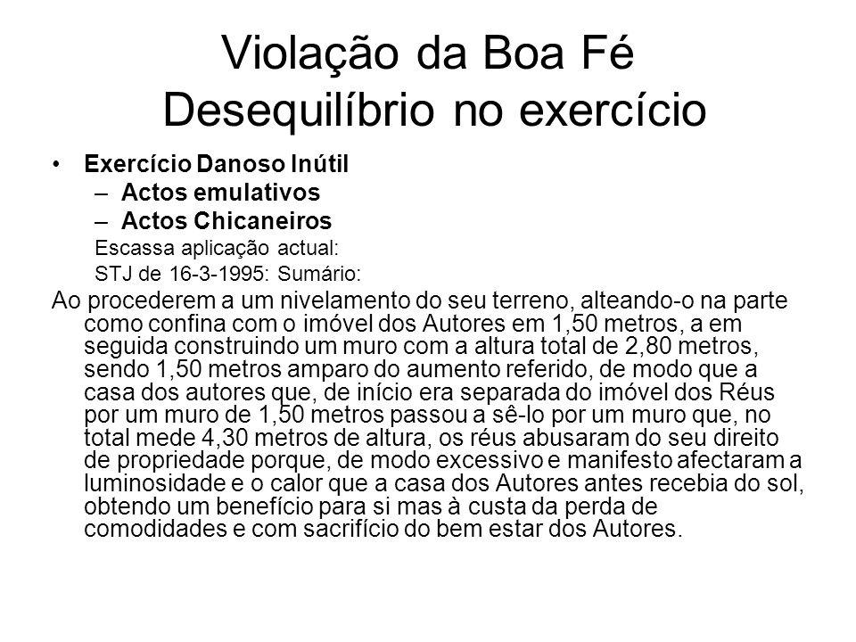 Violação da Boa Fé Desequilíbrio no exercício Exercício Danoso Inútil –Actos emulativos –Actos Chicaneiros Escassa aplicação actual: STJ de 16-3-1995: