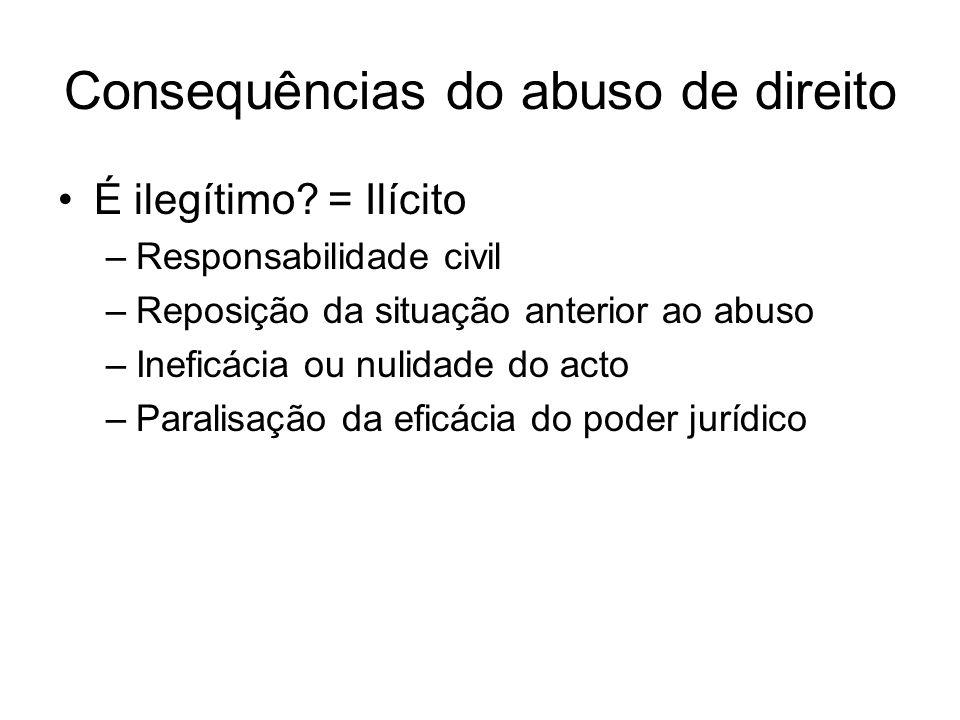 Consequências do abuso de direito É ilegítimo? = Ilícito –Responsabilidade civil –Reposição da situação anterior ao abuso –Ineficácia ou nulidade do a