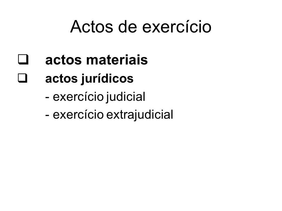 Actos de exercício actos materiais actos jurídicos - exercício judicial - exercício extrajudicial