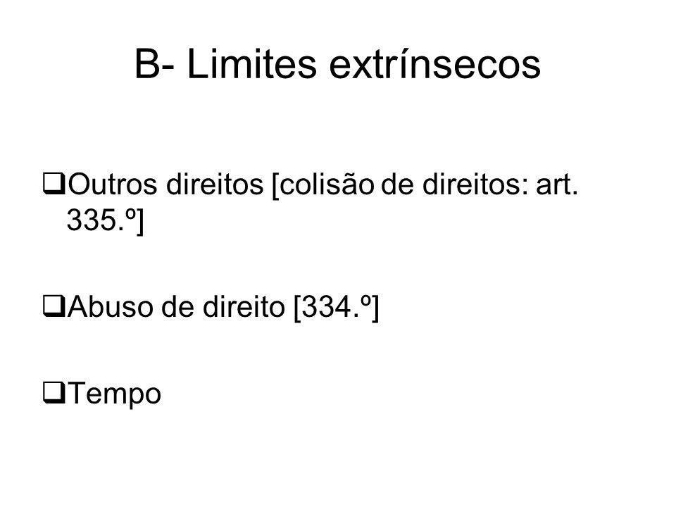 B- Limites extrínsecos Outros direitos [colisão de direitos: art. 335.º] Abuso de direito [334.º] Tempo