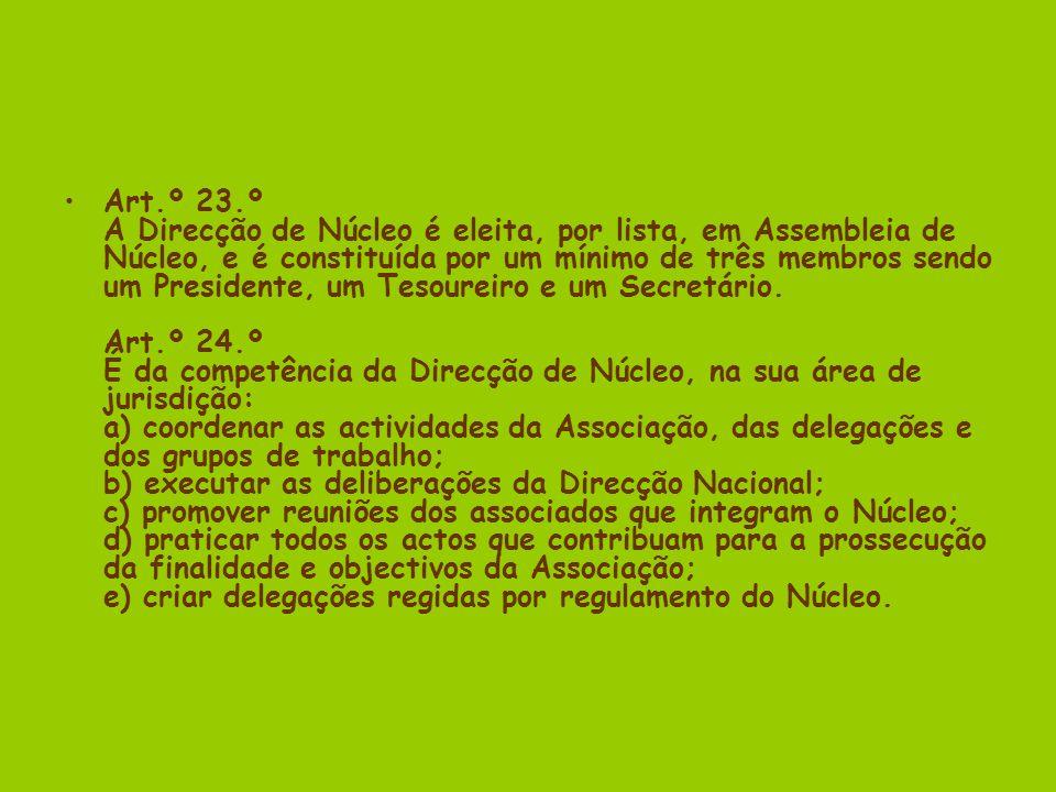 Art.º 23.º A Direcção de Núcleo é eleita, por lista, em Assembleia de Núcleo, e é constituída por um mínimo de três membros sendo um Presidente, um Tesoureiro e um Secretário.