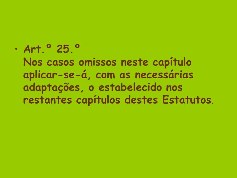 Art.º 25.º Nos casos omissos neste capítulo aplicar-se-á, com as necessárias adaptações, o estabelecido nos restantes capítulos destes Estatutos.