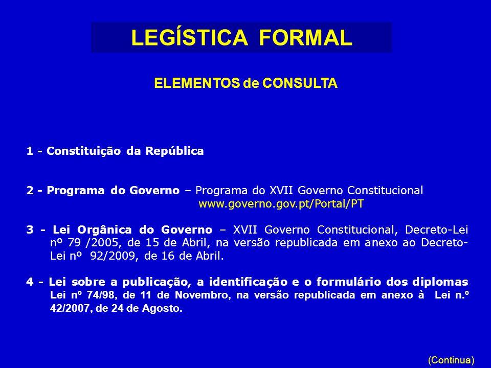 1 - Constituição da República 2 - Programa do Governo – Programa do XVII Governo Constitucional www.governo.gov.pt/Portal/PT 3 - Lei Orgânica do Gover
