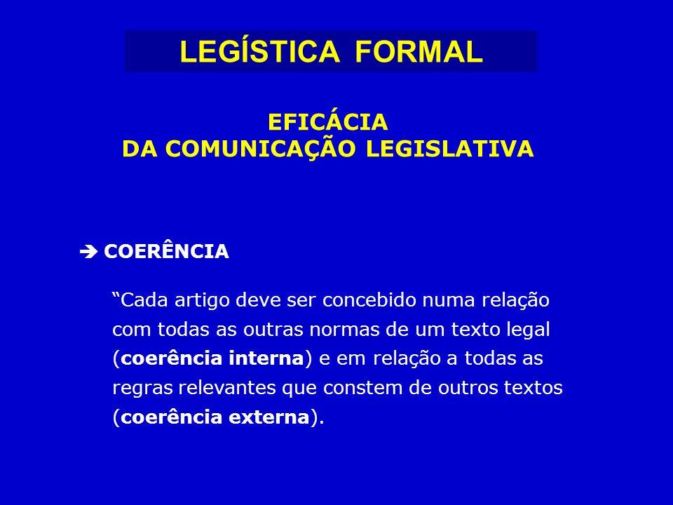 COERÊNCIA Cada artigo deve ser concebido numa relação com todas as outras normas de um texto legal (coerência interna) e em relação a todas as regras