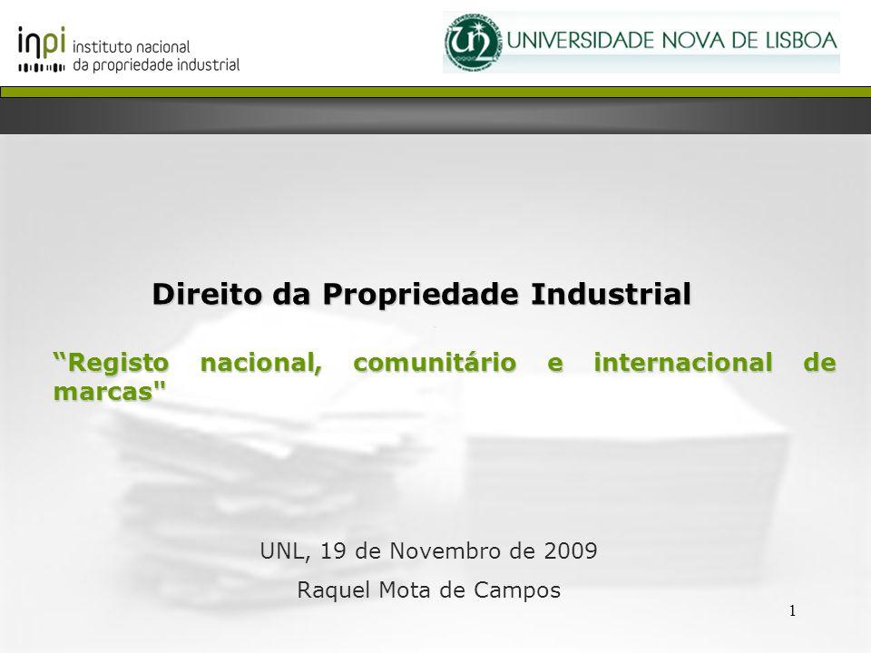 1 Direito da Propriedade Industrial Registo nacional, comunitário e internacional de marcas