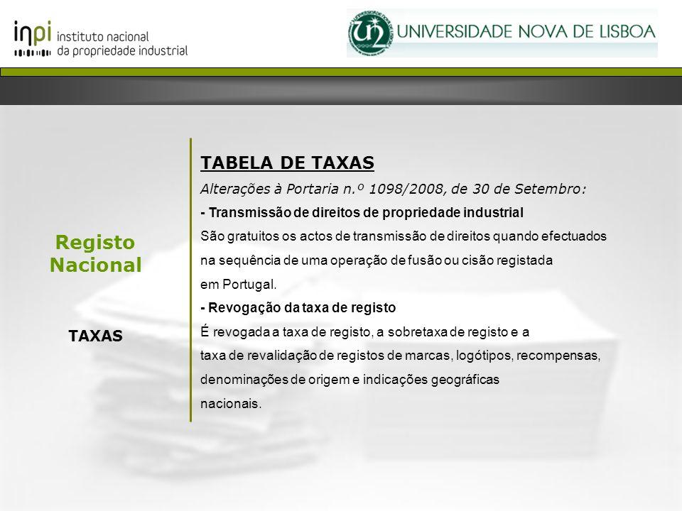 Registo Nacional TAXAS TABELA DE TAXAS Alterações à Portaria n.º 1098/2008, de 30 de Setembro: - Transmissão de direitos de propriedade industrial São