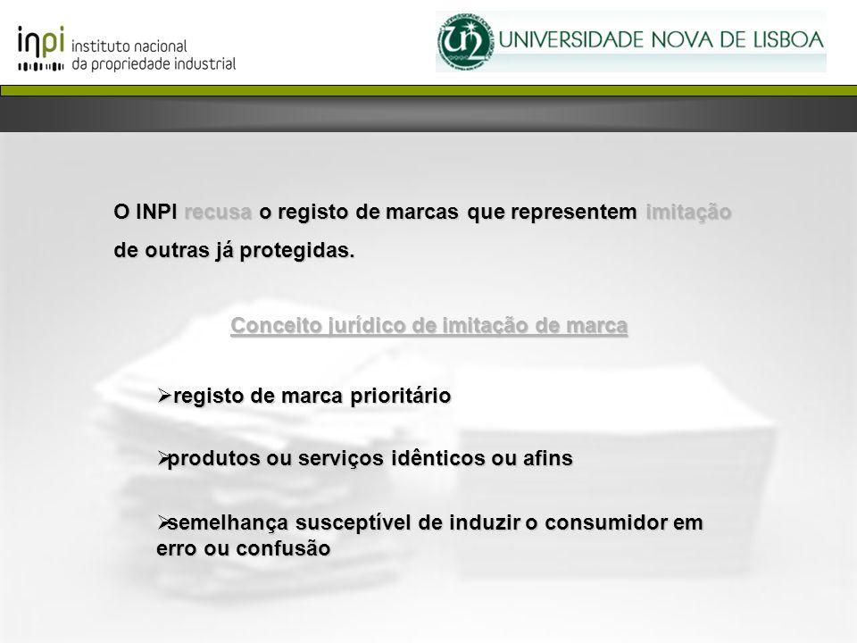O INPI recusa o registo de marcas que representem imitação de outras já protegidas. Conceito jurídico de imitação de marca registo de marca prioritári