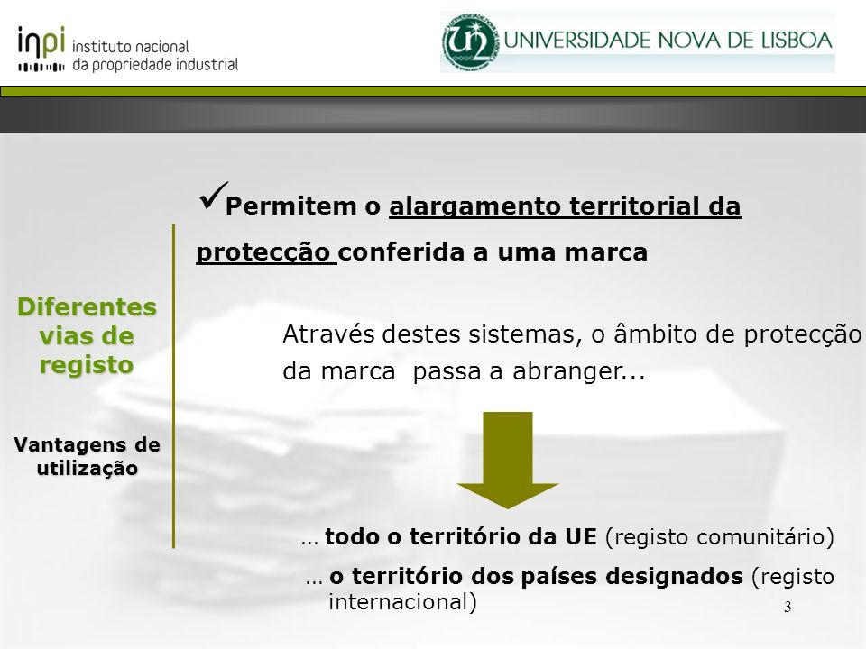 3 Diferentes vias de registo Vantagens de utilização Permitem o alargamento territorial da protecção conferida a uma marca Através destes sistemas, o