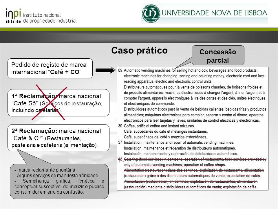 Caso prático Pedido de registo de marca internacional Café + CO 1ª Reclamação: marca nacional Café Sô ( Serviços de restauração, incluíndo cafetarias)