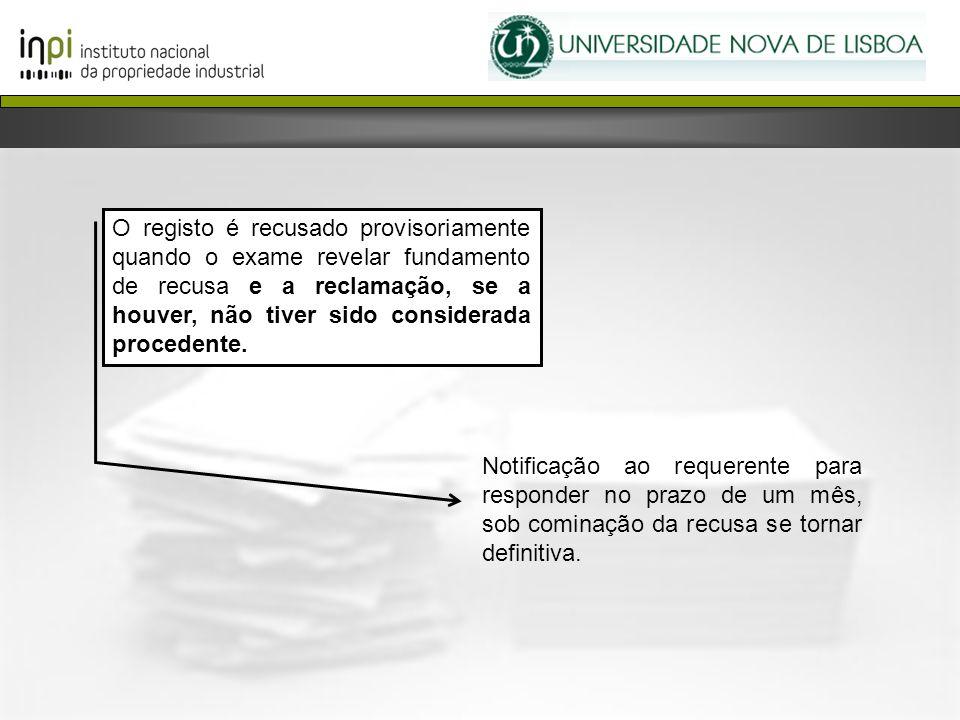 O registo é recusado provisoriamente quando o exame revelar fundamento de recusa e a reclamação, se a houver, não tiver sido considerada procedente. N