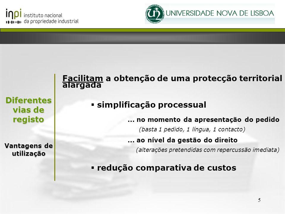 5 Facilitam a obtenção de uma protecção territorial alargada simplificação processual... no momento da apresentação do pedido (basta 1 pedido, 1 língu