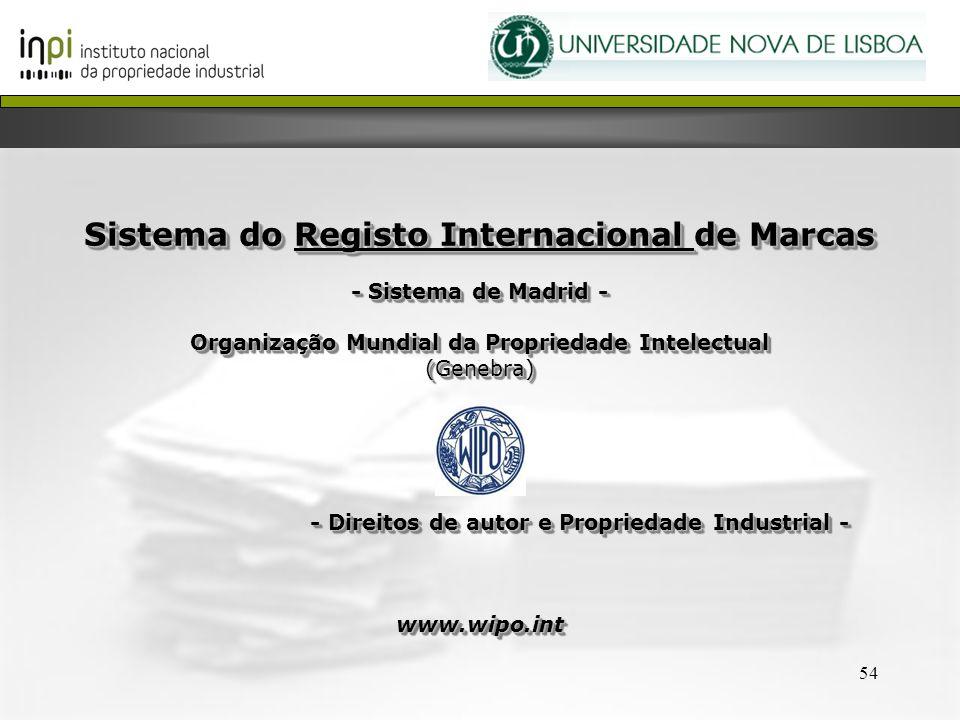 54 Sistema do Registo Internacional de Marcas - Sistema de Madrid - Organização Mundial da Propriedade Intelectual (Genebra) - Direitos de autor e Pro